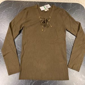 NWT- Michael Kors V-Neck Sweater with Ties